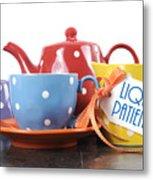 Liquid Patience Colorful Tea Set. Metal Print