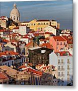 Lisbon Cityscape In Portugal At Sunset Metal Print