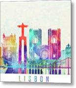Lisbon Landmarks Watercolor Poster Metal Print