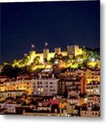 Lisbon Night Background Metal Print