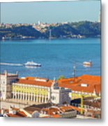 Lisbon Tagus River Skyline Metal Print