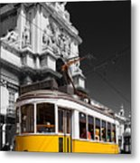 Lisbon's Typical Yellow Tram In Commerce Square Metal Print