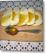Lithuanian National Food. Cottage Cheese With Honey. Metal Print
