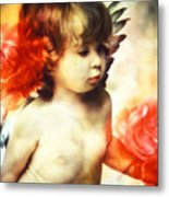 Little Angel With Rose Metal Print