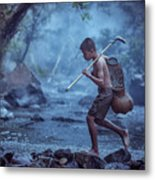 Little Asian Kid Fishing In The River Countryside Thailand. Metal Print
