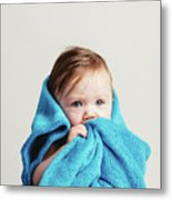 Little Baby Girl Tucked In A Cozy Blue Blanket. Metal Print