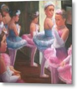 Little Ballerinas Backstage At The Recital Metal Print