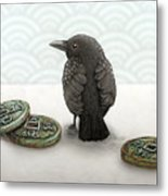 Little Bird And Coins Metal Print
