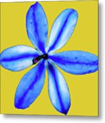 Little Blue Flower On A Yellow Background Metal Print