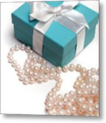 Little Blue Gift Box And Pearls Metal Print
