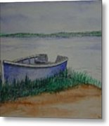 Little Blue Skiff Metal Print by Ron Sylvia