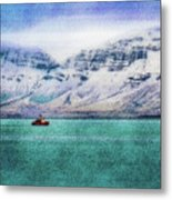 Little Boat In Reykjavik Bay Metal Print