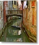 Little Boat On Canal In Venice Metal Print
