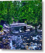Little Bridge - Japanese Garden Metal Print