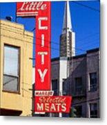 Little City Sign North Beach Metal Print
