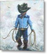 Little Cowboy Lasso Metal Print