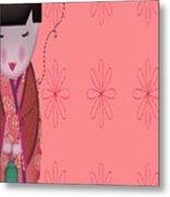 Little Geisha Pink Metal Print