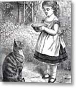 Little Girl Gives Her Cat Its Dinner Metal Print