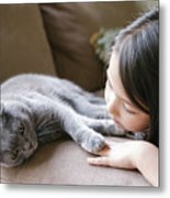 Little Girl Hanging Out With Her Scottish Fold Cat Metal Print