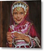 Little Girl In India Metal Print