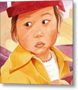 Little Girl In Red Hat Metal Print by Judy Swerlick