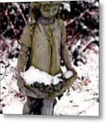 Little Girl Sculpture In The Snow Metal Print