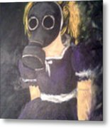 Little Girl Wear Gas Mask Metal Print