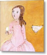 Little Girl With Her Hen Metal Print