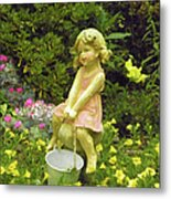 Little Girl With Pail Metal Print