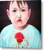 Little Girl With Rose Metal Print