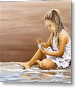 Little Girl With Sea Shell Metal Print