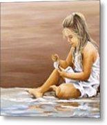 Little Girl With Sea Shell Metal Print