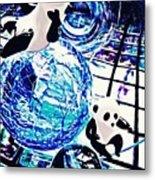 Little Glass Pandas 30 Metal Print