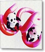 Little Glass Pandas 44 Metal Print