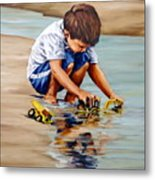Little Guy Playing Metal Print