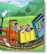 Little Happy Pigs On Train Journey Metal Print