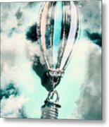 Little Hot Air Balloon Pendant And Clouds Metal Print