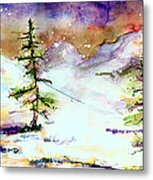 Little House In The Mountains Metal Print