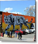 Little India In Jersey City-white Tiger Mural Metal Print