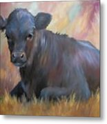 Little Moo  Angus Calf Painting Southwest Art Metal Print