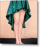 Ameynra Fashion Satin High Low Skirt, Dark-green Metal Print