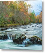 Little Pigeon River Great Smoky Mountains National Park In Fall Metal Print