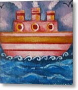 Little Pink Ship Metal Print