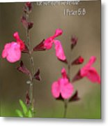 Little Pink Wildflowers With Scripture Metal Print