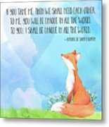 Little Prince Fox Quote, Text Art Metal Print