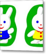 Little Rabbit Boy And Rabbit Girl Metal Print