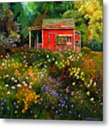 Little Red Flower Shed Metal Print