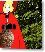 Little Red Riding Hood In The Forest Metal Print