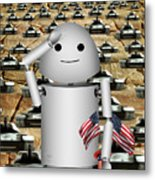 Little Robo-x9 Says Tanks Alot Metal Print