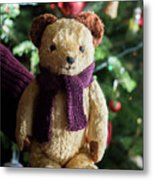 Little Sweet Teddy Bear With Knitted Scarf Under The Christmas Tree Metal Print